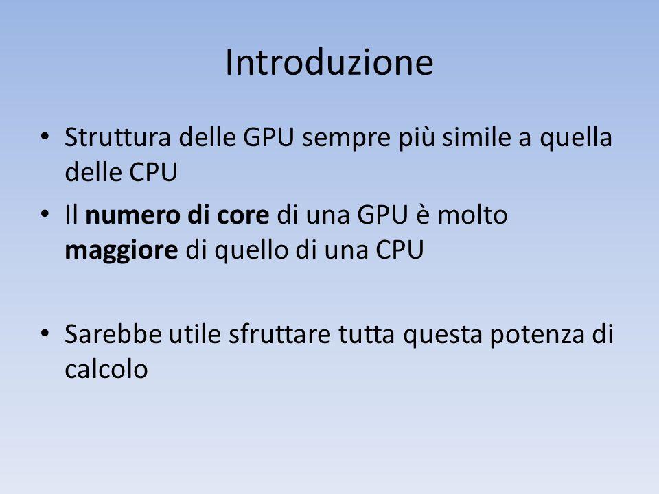 Introduzione Struttura delle GPU sempre più simile a quella delle CPU Il numero di core di una GPU è molto maggiore di quello di una CPU Sarebbe utile
