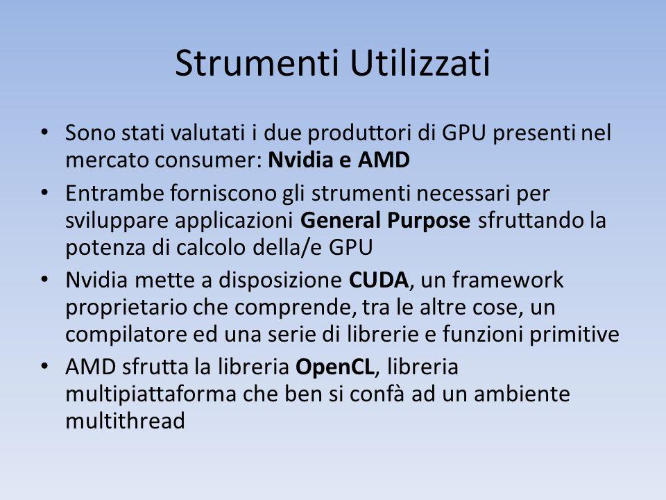 Strumenti Utilizzati Sono stati valutati i due produttori di GPU presenti nel mercato consumer: Nvidia e AMD Entrambe forniscono gli strumenti necessa