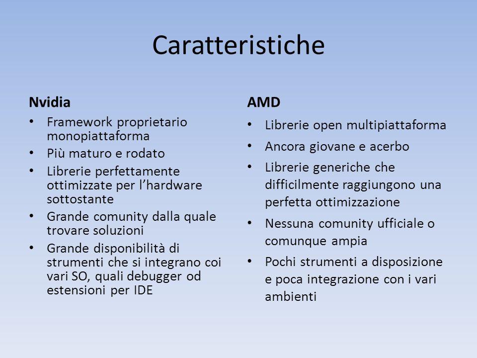 Caratteristiche Nvidia Framework proprietario monopiattaforma Più maturo e rodato Librerie perfettamente ottimizzate per lhardware sottostante Grande