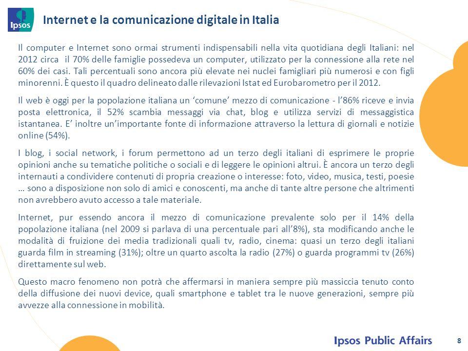Internet e la comunicazione digitale in Italia Il computer e Internet sono ormai strumenti indispensabili nella vita quotidiana degli Italiani: nel 2012 circa il 70% delle famiglie possedeva un computer, utilizzato per la connessione alla rete nel 60% dei casi.