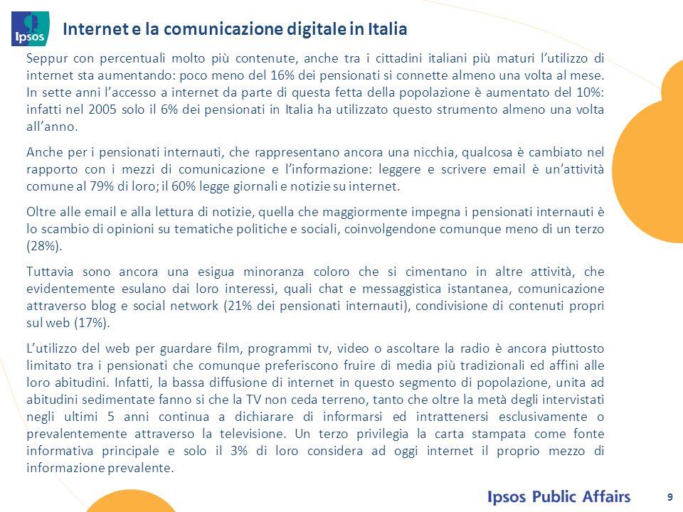 Seppur con percentuali molto più contenute, anche tra i cittadini italiani più maturi lutilizzo di internet sta aumentando: poco meno del 16% dei pensionati si connette almeno una volta al mese.