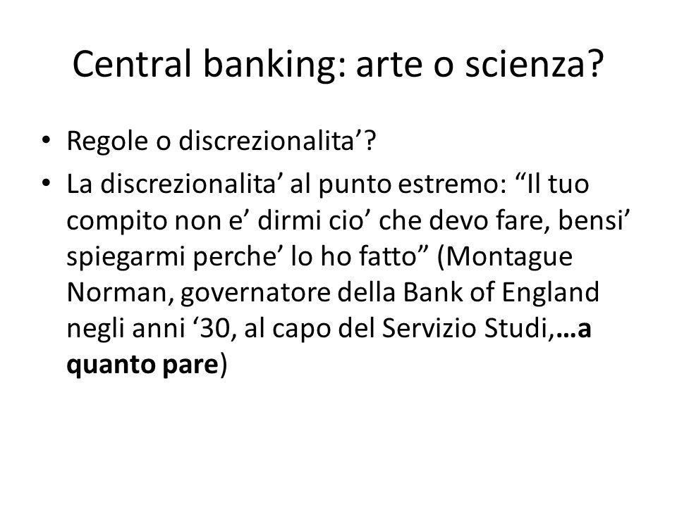 Central banking: arte o scienza. Regole o discrezionalita.
