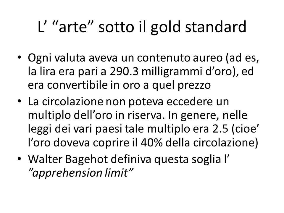 L arte sotto il gold standard Ogni valuta aveva un contenuto aureo (ad es, la lira era pari a 290.3 milligrammi doro), ed era convertibile in oro a quel prezzo La circolazione non poteva eccedere un multiplo delloro in riserva.