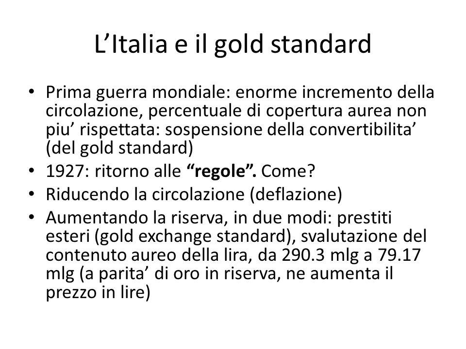 LItalia e il gold standard Prima guerra mondiale: enorme incremento della circolazione, percentuale di copertura aurea non piu rispettata: sospensione della convertibilita (del gold standard) 1927: ritorno alle regole.