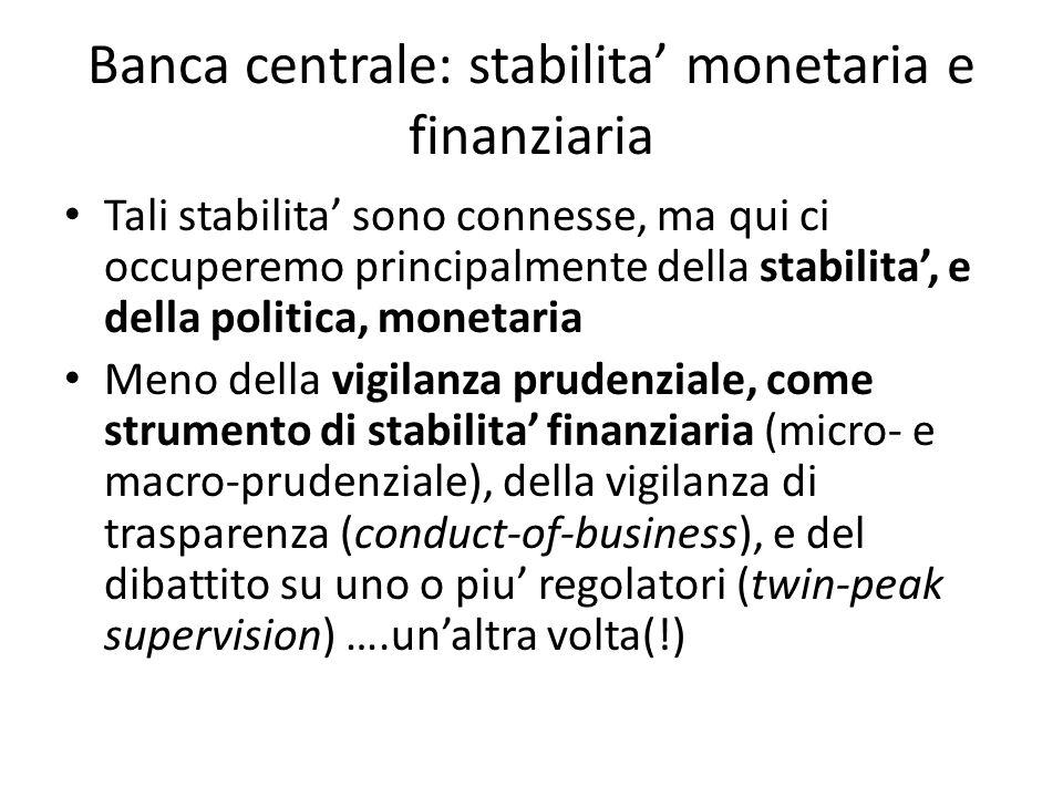 Banca centrale: stabilita monetaria e finanziaria Tali stabilita sono connesse, ma qui ci occuperemo principalmente della stabilita, e della politica, monetaria Meno della vigilanza prudenziale, come strumento di stabilita finanziaria (micro- e macro-prudenziale), della vigilanza di trasparenza (conduct-of-business), e del dibattito su uno o piu regolatori (twin-peak supervision) ….unaltra volta(!)