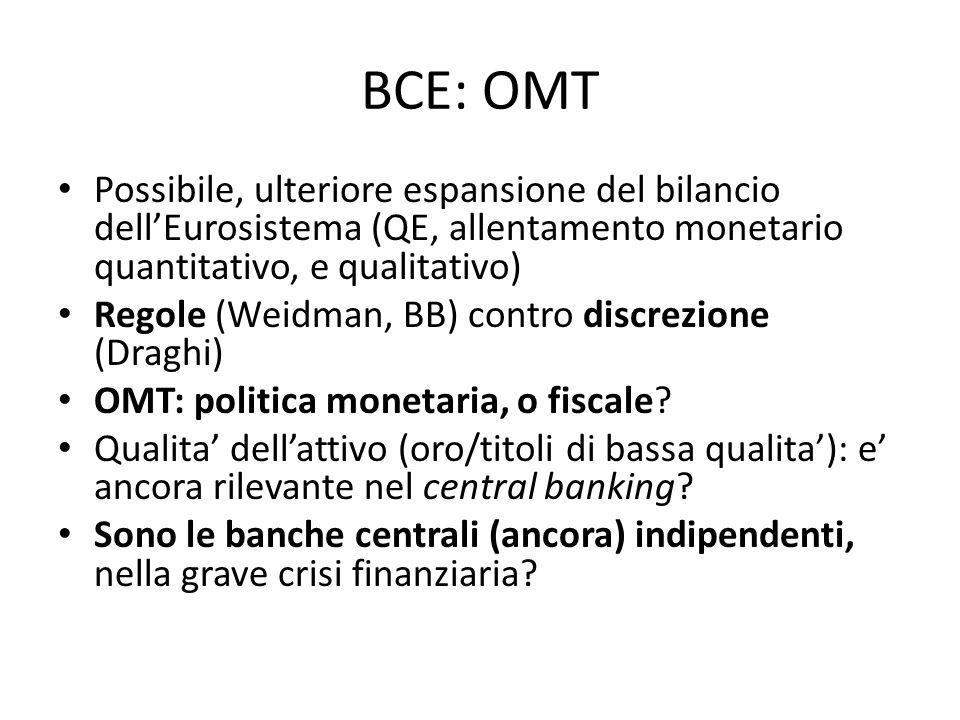 BCE: OMT Possibile, ulteriore espansione del bilancio dellEurosistema (QE, allentamento monetario quantitativo, e qualitativo) Regole (Weidman, BB) contro discrezione (Draghi) OMT: politica monetaria, o fiscale.