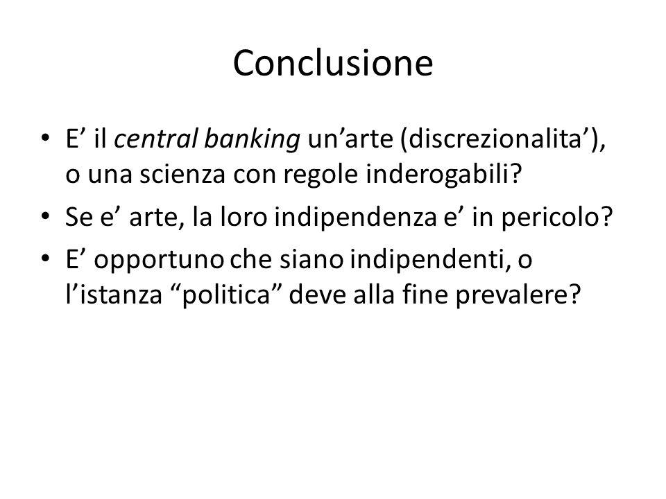 Conclusione E il central banking unarte (discrezionalita), o una scienza con regole inderogabili.