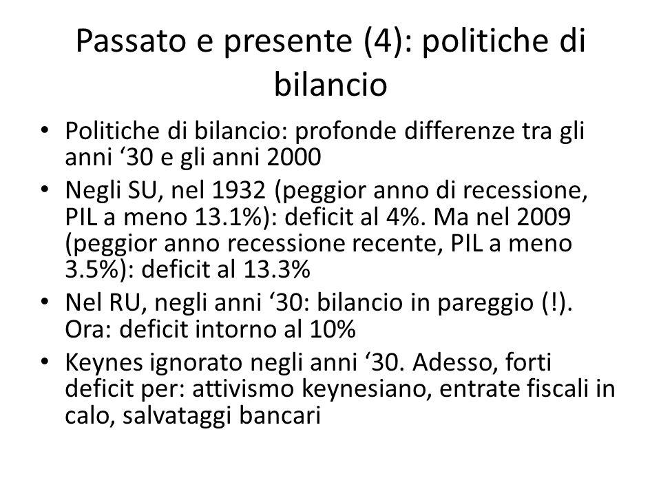 Passato e presente (4): politiche di bilancio Politiche di bilancio: profonde differenze tra gli anni 30 e gli anni 2000 Negli SU, nel 1932 (peggior anno di recessione, PIL a meno 13.1%): deficit al 4%.