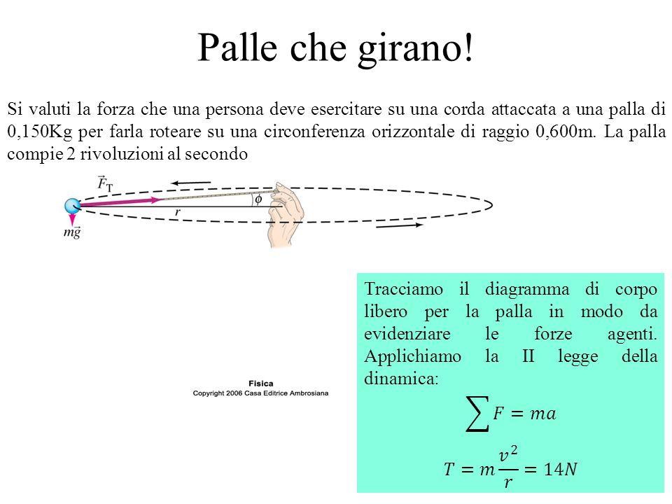 Palle che girano! Si valuti la forza che una persona deve esercitare su una corda attaccata a una palla di 0,150Kg per farla roteare su una circonfere
