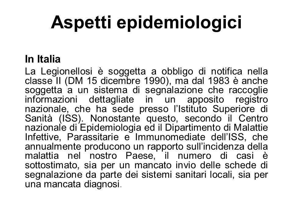 Aspetti epidemiologici In Italia La Legionellosi è soggetta a obbligo di notifica nella classe II (DM 15 dicembre 1990), ma dal 1983 è anche soggetta