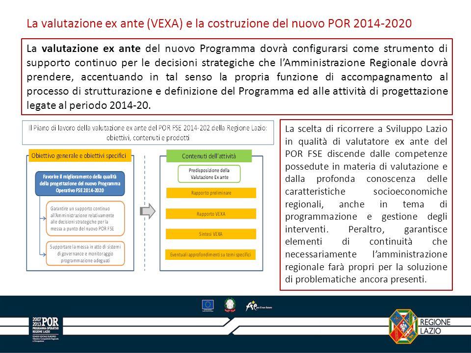 La valutazione ex ante del nuovo Programma dovrà configurarsi come strumento di supporto continuo per le decisioni strategiche che lAmministrazione Regionale dovrà prendere, accentuando in tal senso la propria funzione di accompagnamento al processo di strutturazione e definizione del Programma ed alle attività di progettazione legate al periodo 2014-20.