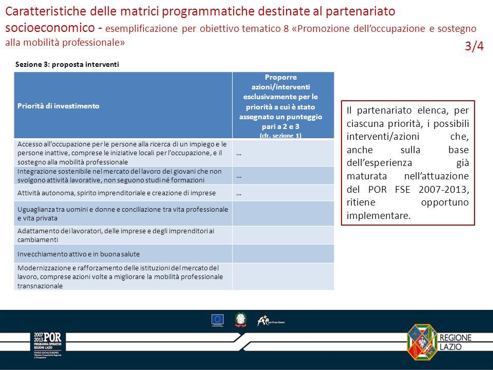 3/4 Caratteristiche delle matrici programmatiche destinate al partenariato socioeconomico - esemplificazione per obiettivo tematico 8 «Promozione delloccupazione e sostegno alla mobilità professionale» Il partenariato elenca, per ciascuna priorità, i possibili interventi/azioni che, anche sulla base dellesperienza già maturata nellattuazione del POR FSE 2007-2013, ritiene opportuno implementare.