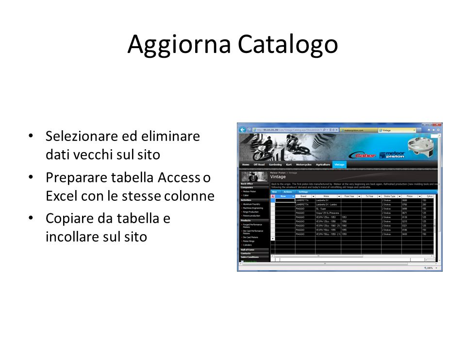 Aggiorna Catalogo Selezionare ed eliminare dati vecchi sul sito Preparare tabella Access o Excel con le stesse colonne Copiare da tabella e incollare sul sito