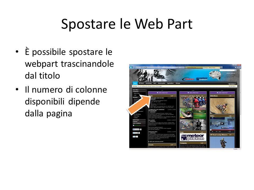 Spostare le Web Part È possibile spostare le webpart trascinandole dal titolo Il numero di colonne disponibili dipende dalla pagina