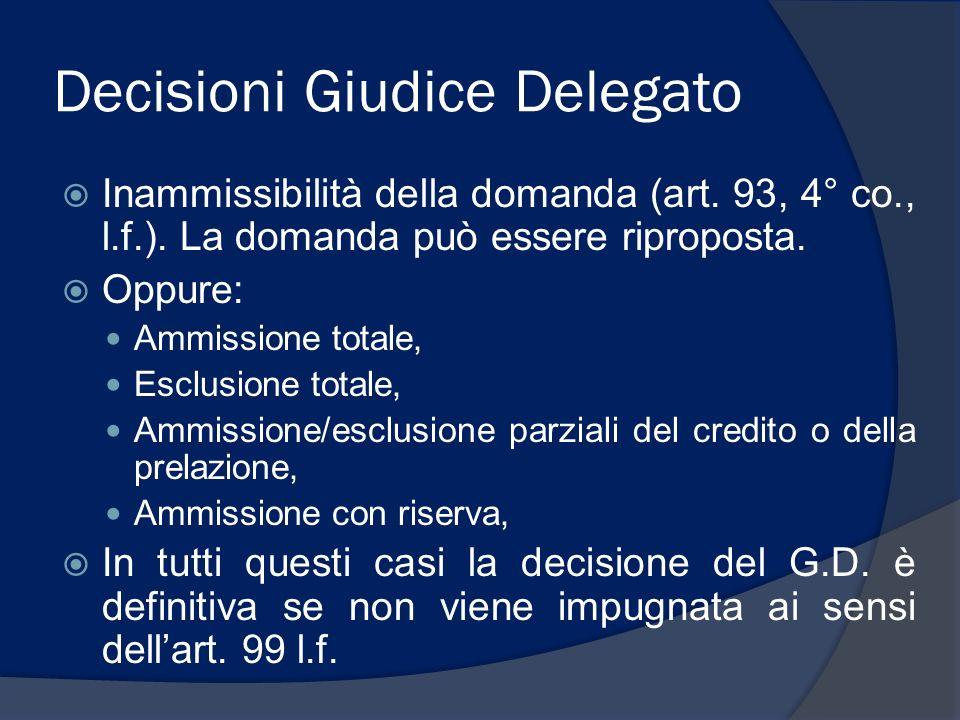 Decisioni Giudice Delegato Inammissibilità della domanda (art. 93, 4° co., l.f.). La domanda può essere riproposta. Oppure: Ammissione totale, Esclusi