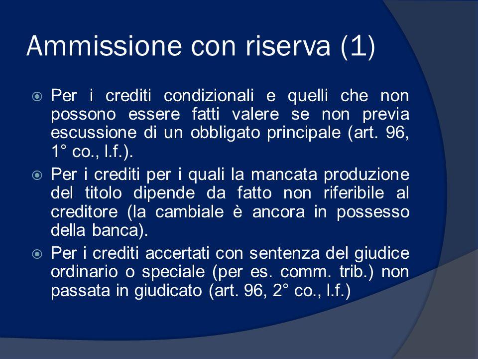 Ammissione con riserva (1) Per i crediti condizionali e quelli che non possono essere fatti valere se non previa escussione di un obbligato principale (art.