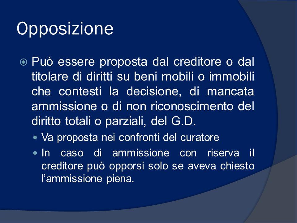 Opposizione Può essere proposta dal creditore o dal titolare di diritti su beni mobili o immobili che contesti la decisione, di mancata ammissione o d