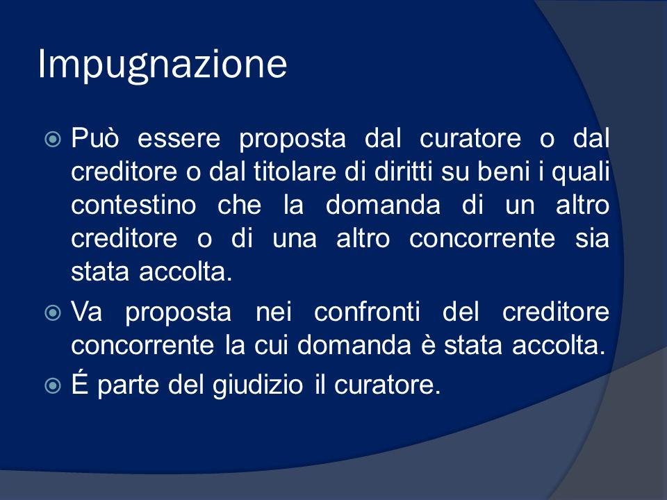 Impugnazione Può essere proposta dal curatore o dal creditore o dal titolare di diritti su beni i quali contestino che la domanda di un altro creditor