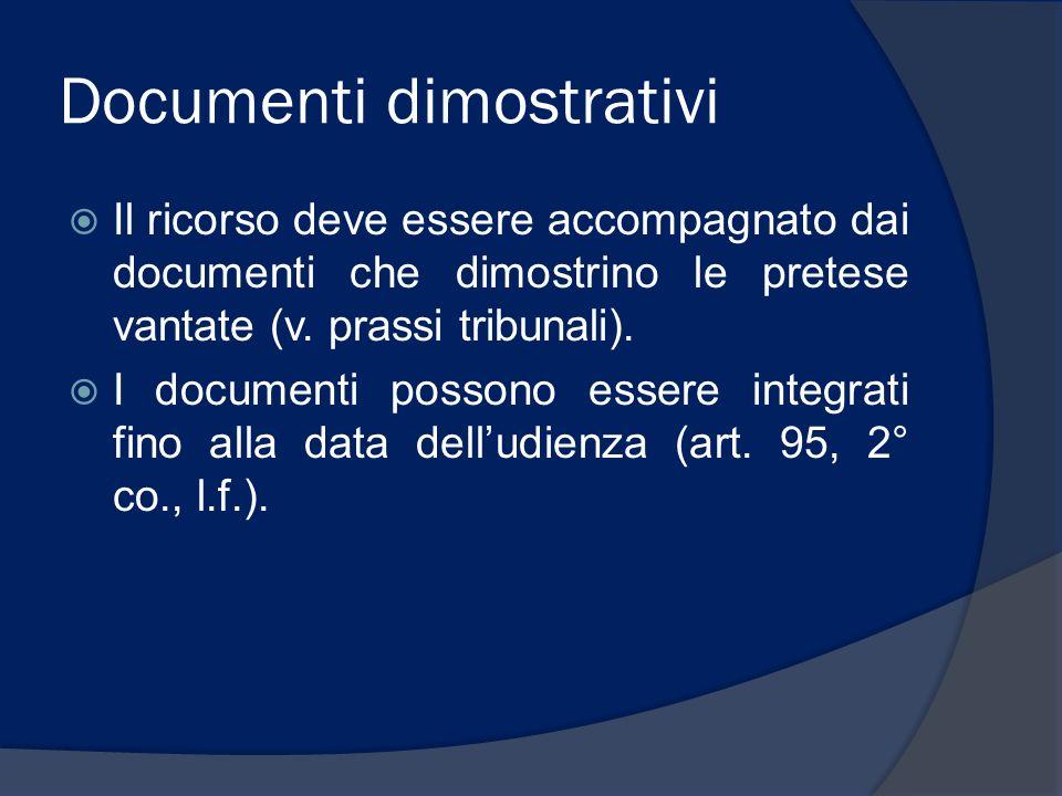 Documenti dimostrativi Il ricorso deve essere accompagnato dai documenti che dimostrino le pretese vantate (v. prassi tribunali). I documenti possono