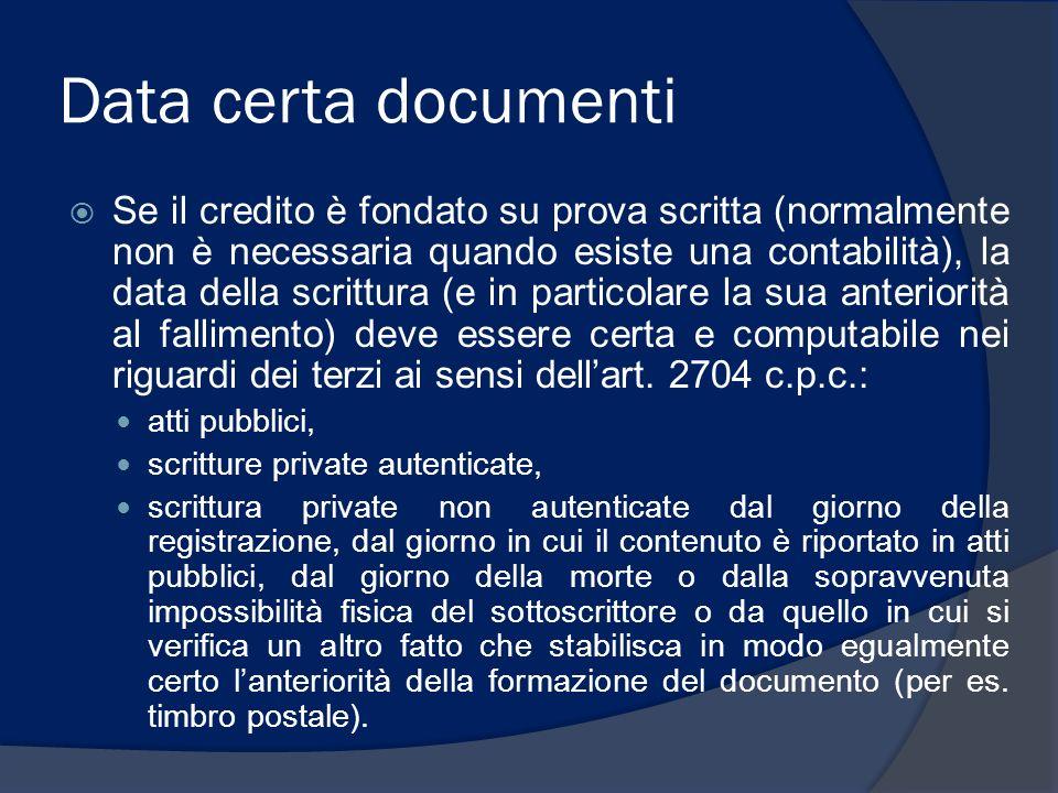 Data certa documenti Se il credito è fondato su prova scritta (normalmente non è necessaria quando esiste una contabilità), la data della scrittura (e