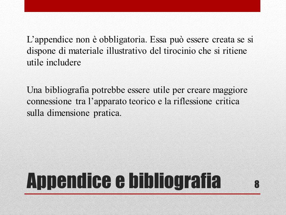 Appendice e bibliografia Lappendice non è obbligatoria. Essa può essere creata se si dispone di materiale illustrativo del tirocinio che si ritiene ut