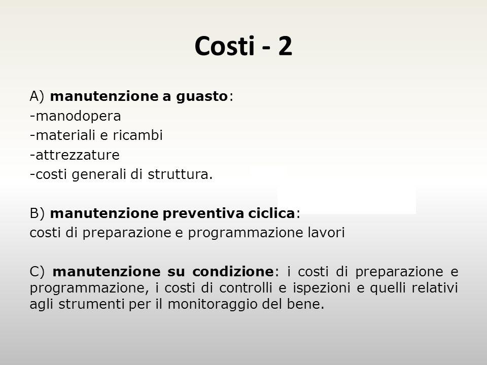 Costi - 2 Esempio A) manutenzione a guasto: -manodopera -materiali e ricambi -attrezzature -costi generali di struttura.