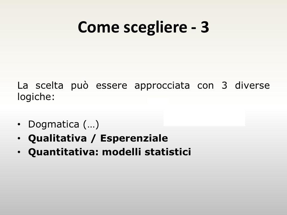 Come scegliere - 3 Esempio La scelta può essere approcciata con 3 diverse logiche: Dogmatica (…) Qualitativa / Esperenziale Quantitativa: modelli statistici