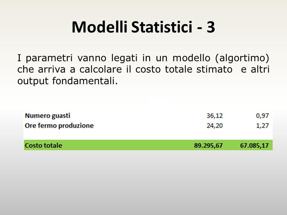 Modelli Statistici - 3 Esempio I parametri vanno legati in un modello (algortimo) che arriva a calcolare il costo totale stimato e altri output fondamentali.