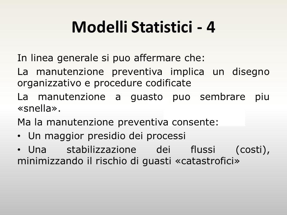 Modelli Statistici - 4 Esempio In linea generale si puo affermare che: La manutenzione preventiva implica un disegno organizzativo e procedure codificate La manutenzione a guasto puo sembrare piu «snella».