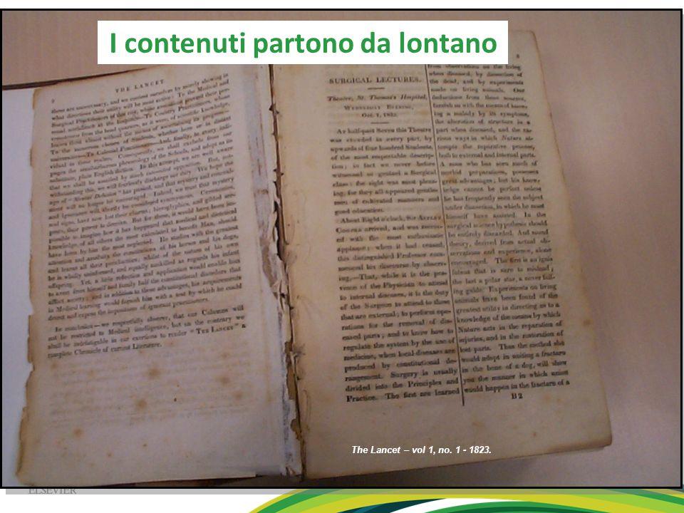 The Lancet – vol 1, no. 1 - 1823. I contenuti partono da lontano