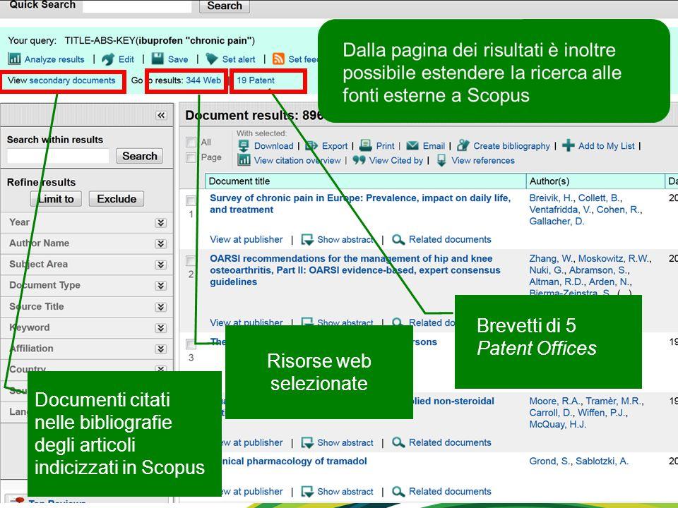 Brevetti di 5 Patent Offices Risorse web selezionate Documenti citati nelle bibliografie degli articoli indicizzati in Scopus