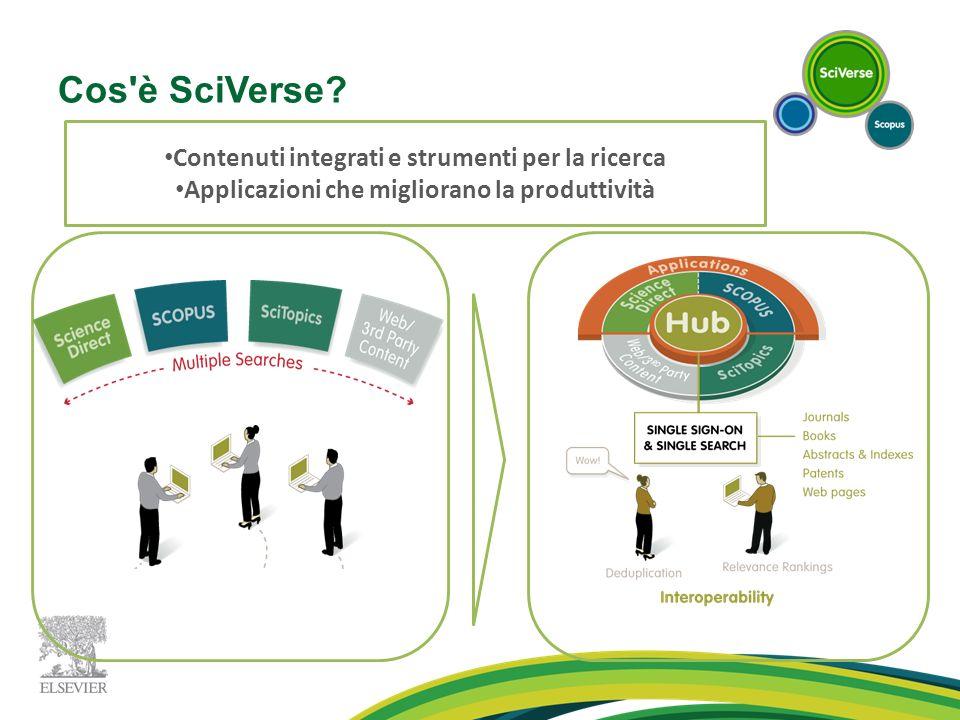 Cos'è SciVerse? Contenuti integrati e strumenti per la ricerca Applicazioni che migliorano la produttività
