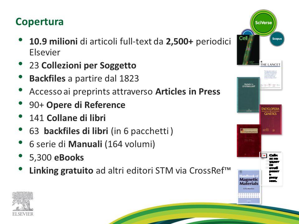 Copertura 10.9 milioni di articoli full-text da 2,500+ periodici Elsevier 23 Collezioni per Soggetto Backfiles a partire dal 1823 Accesso ai preprints
