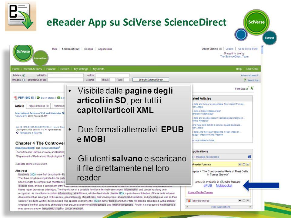 eReader App su SciVerse ScienceDirect Visibile dalle pagine degli articoli in SD, per tutti i capitoli/articoli XML Due formati alternativi: EPUB e MO