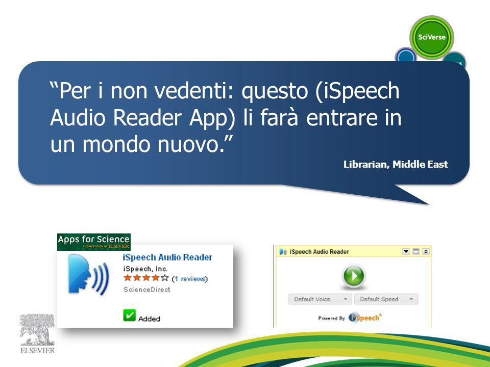 Per i non vedenti: questo (iSpeech Audio Reader App) li farà entrare in un mondo nuovo. Librarian, Middle East