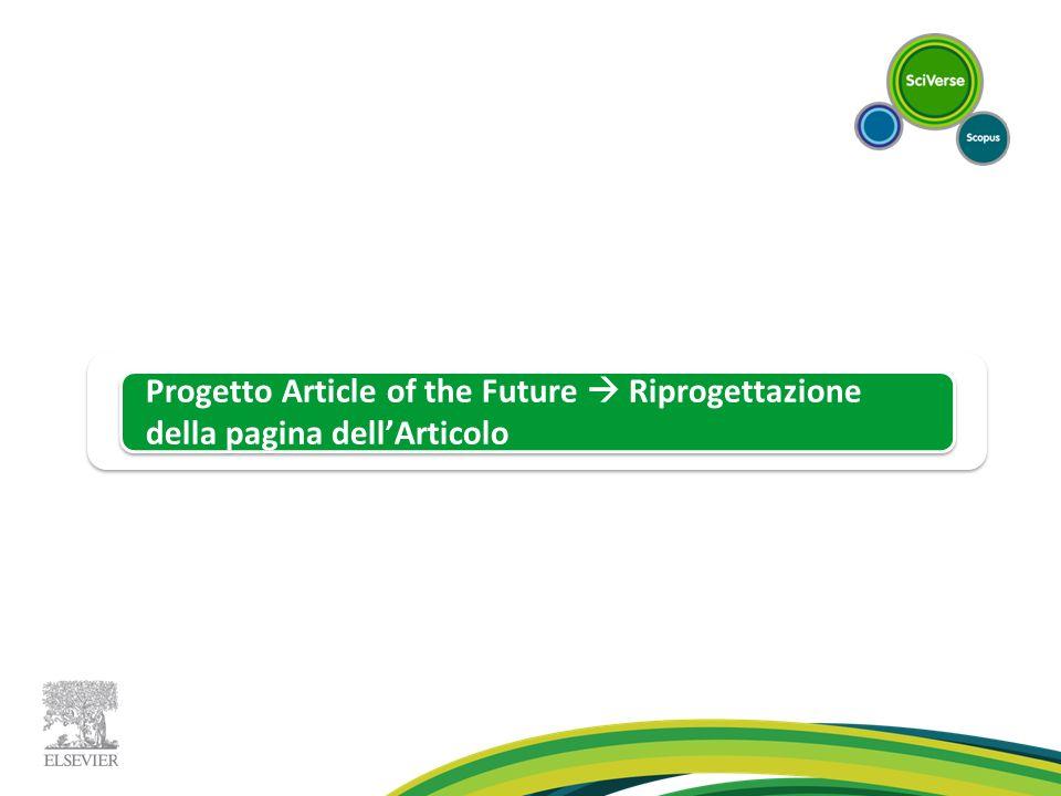 Progetto Article of the Future Riprogettazione della pagina dellArticolo