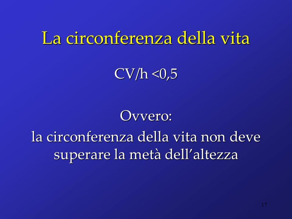 La circonferenza della vita CV/h <0,5 Ovvero: la circonferenza della vita non deve superare la metà dellaltezza 17