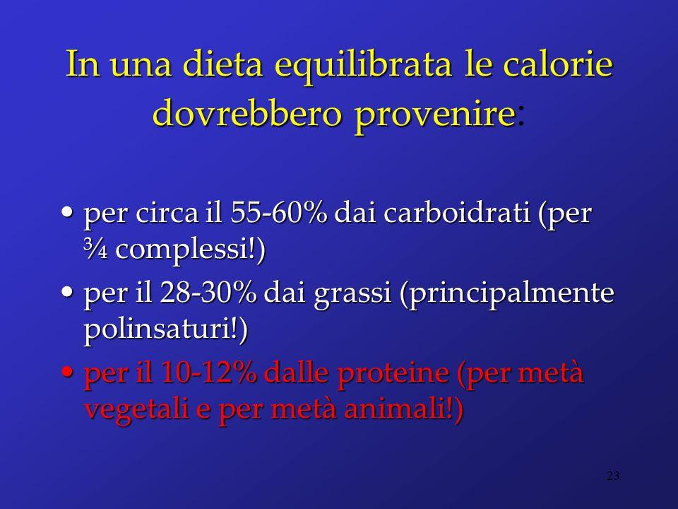 In una dieta equilibrata le calorie dovrebbero provenire In una dieta equilibrata le calorie dovrebbero provenire : per circa il 55-60% dai carboidrat