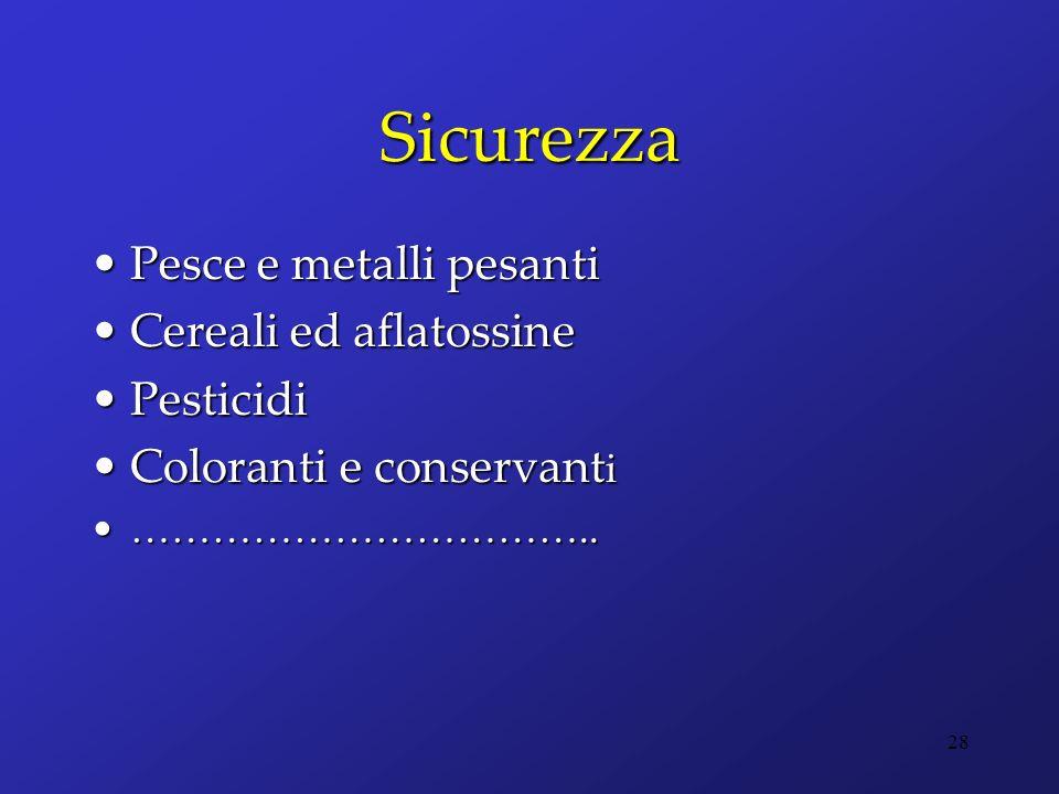 Sicurezza Pesce e metalli pesantiPesce e metalli pesanti Cereali ed aflatossineCereali ed aflatossine PesticidiPesticidi Coloranti e conservant iColor