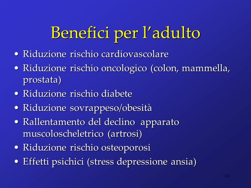 Benefici per ladulto Riduzione rischio cardiovascolareRiduzione rischio cardiovascolare Riduzione rischio oncologico (colon, mammella, prostata)Riduzi