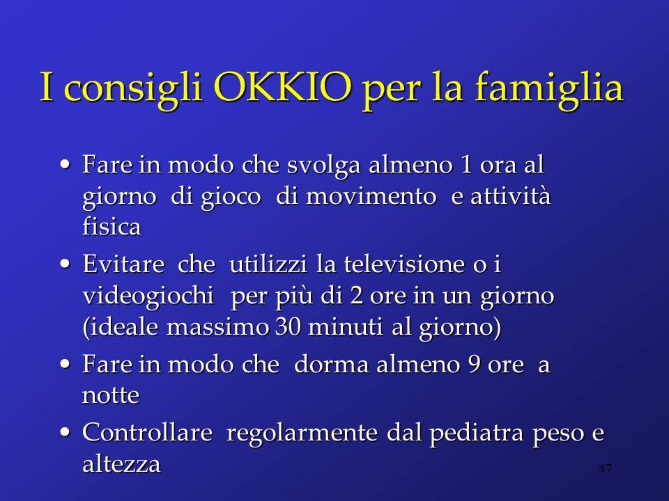 I consigli OKKIO per la famiglia Fare in modo che svolga almeno 1 ora al giorno di gioco di movimento e attività fisicaFare in modo che svolga almeno