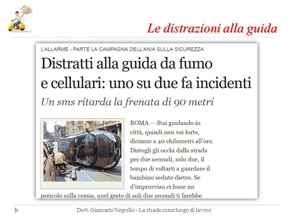 Le distrazioni alla guida Dott. Giancarlo Negrello - La strada come luogo di lavoro