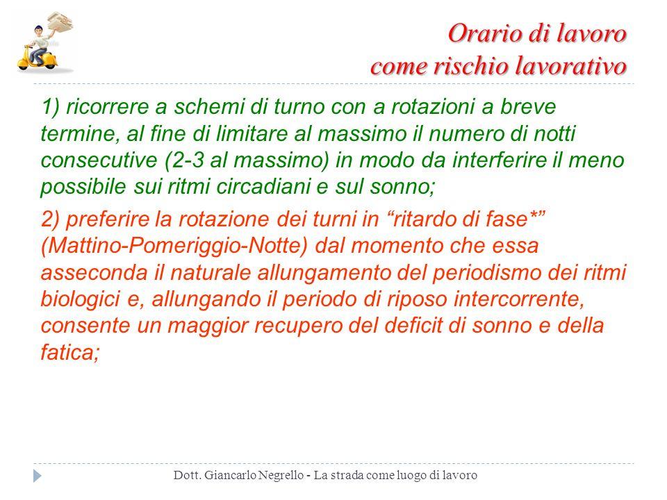 Orario di lavoro come rischio lavorativo Dott. Giancarlo Negrello - La strada come luogo di lavoro 1) ricorrere a schemi di turno con a rotazioni a br