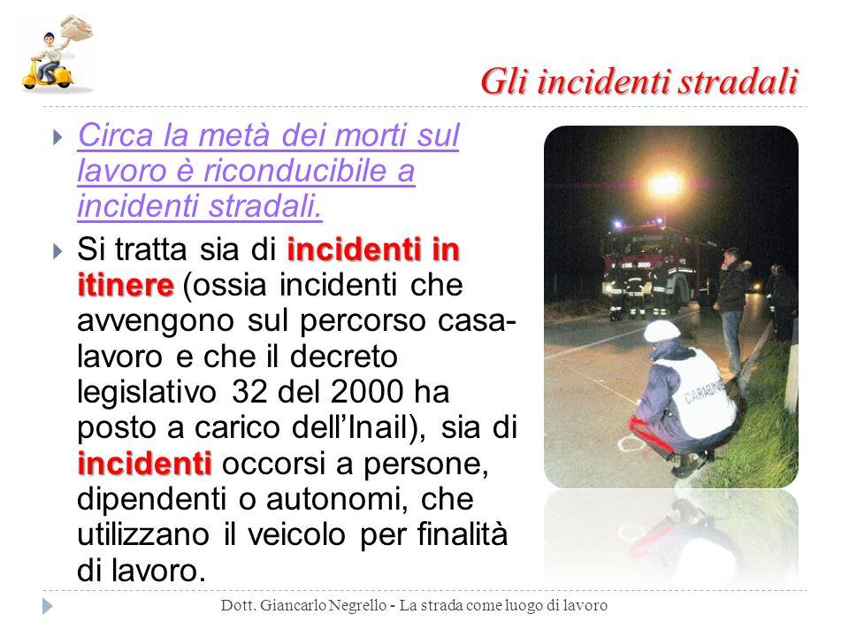 Gli incidenti stradali Circa la metà dei morti sul lavoro è riconducibile a incidenti stradali. incidenti in itinere incidenti Si tratta sia di incide