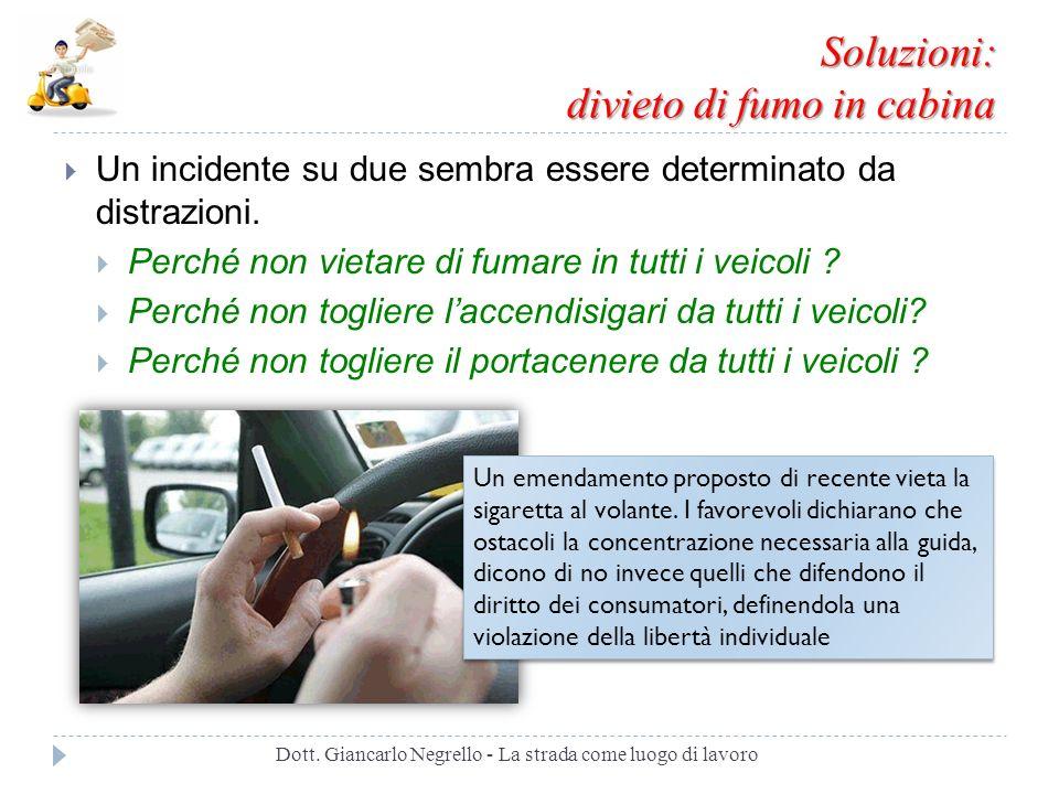 Soluzioni: divieto di fumo in cabina Un incidente su due sembra essere determinato da distrazioni. Perché non vietare di fumare in tutti i veicoli ? P