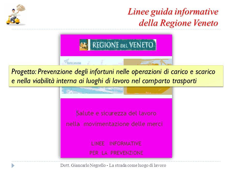 Linee guida informative della Regione Veneto Dott. Giancarlo Negrello - La strada come luogo di lavoro Progetto: Prevenzione degli infortuni nelle ope