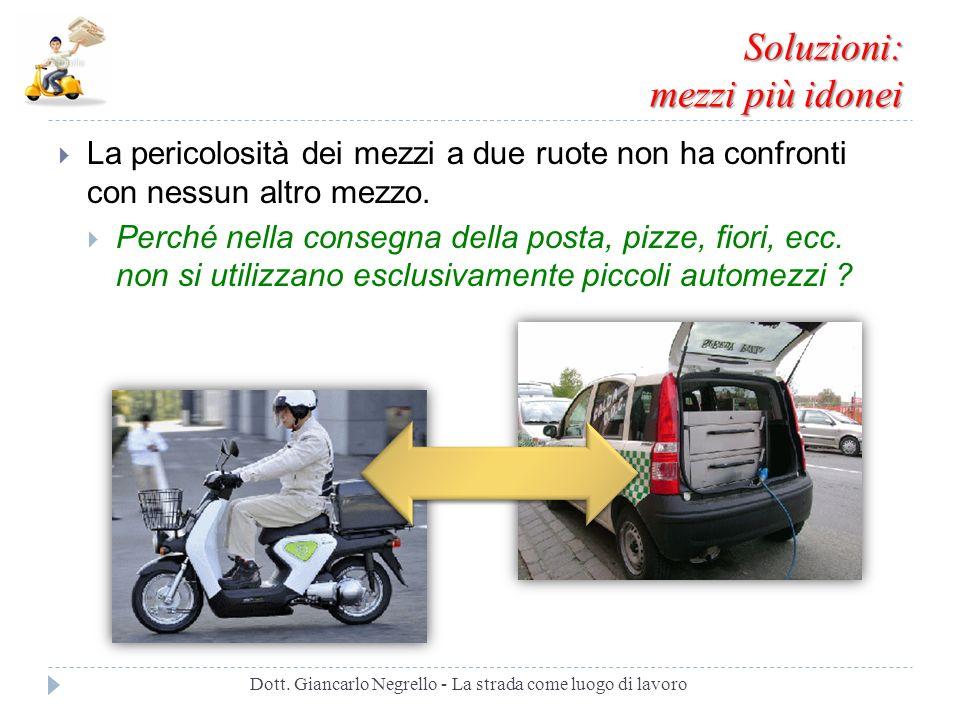 Soluzioni: mezzi più idonei La pericolosità dei mezzi a due ruote non ha confronti con nessun altro mezzo. Perché nella consegna della posta, pizze, f