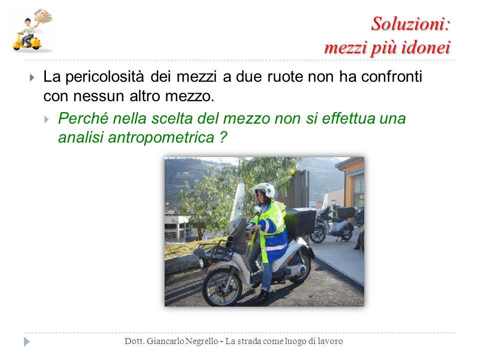 Soluzioni: mezzi più idonei La pericolosità dei mezzi a due ruote non ha confronti con nessun altro mezzo. Perché nella scelta del mezzo non si effett