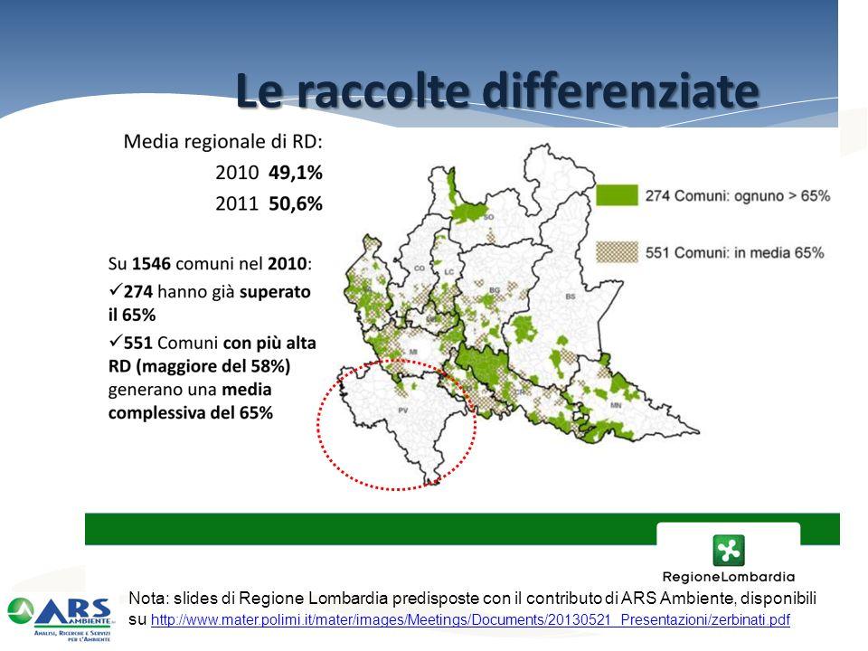 Le raccolte differenziate Nota: slides di Regione Lombardia predisposte con il contributo di ARS Ambiente, disponibili su http://www.mater.polimi.it/m