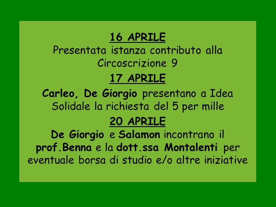 21 APRILE Carleo e De Giorgio partecipano a Milano allassemblea FIE 23 APRILE De Giorgio svolge diverse pratiche presso Comune e IREN per la Giornata Epilessia 24 APRILE De Giorgio viene intervistato alla TV GRP sullargomento epilessia